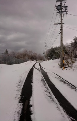 4月の雪道
